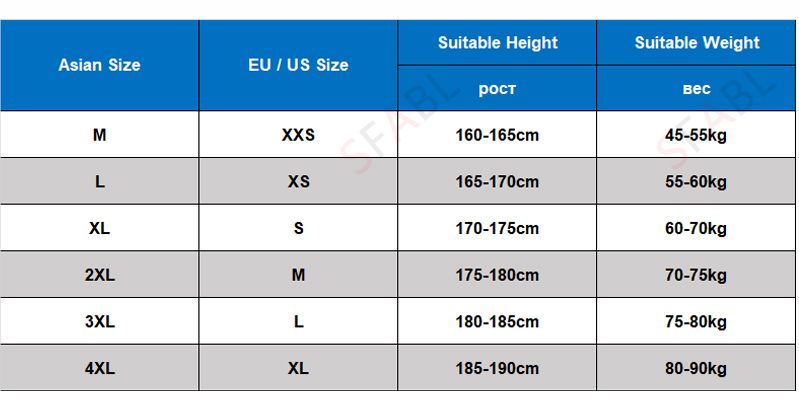 size chart hoodies men-weight and height