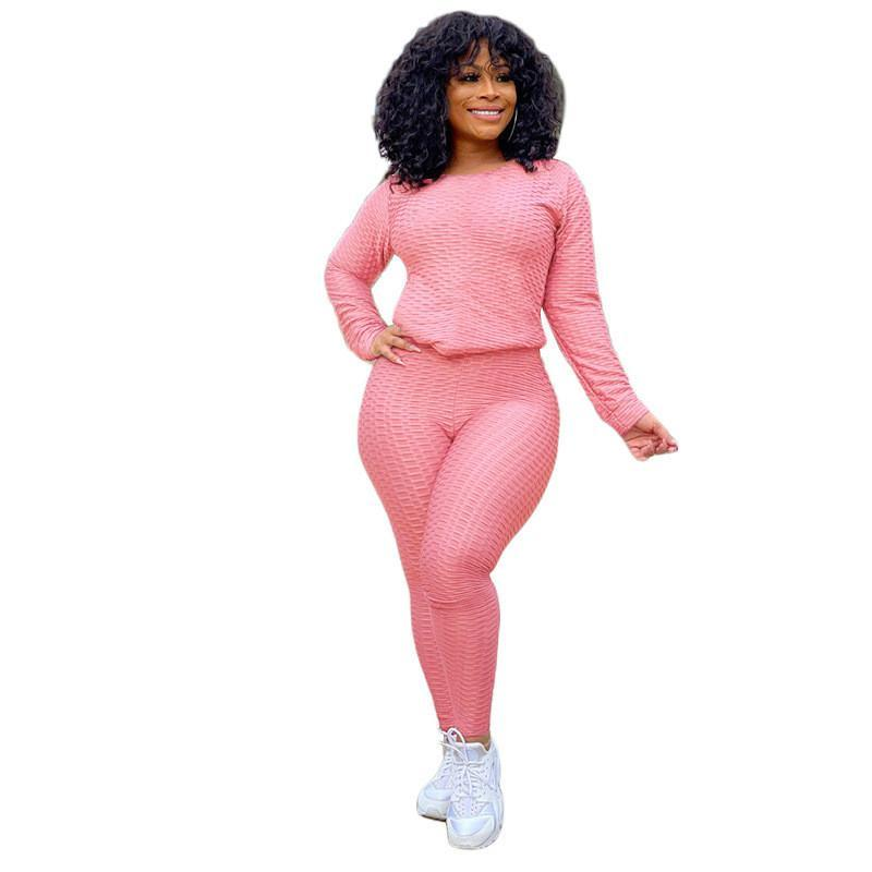 women yoga tracksuit long sleeve outfits shirt pants two piece set skinny shirt tights sport suit pullover pants hot selling klw5815