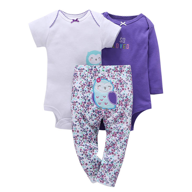 100% Cotton New baby boy girl clothes set , kids bebes girl purple owl 3pcs clothing set ropa suit