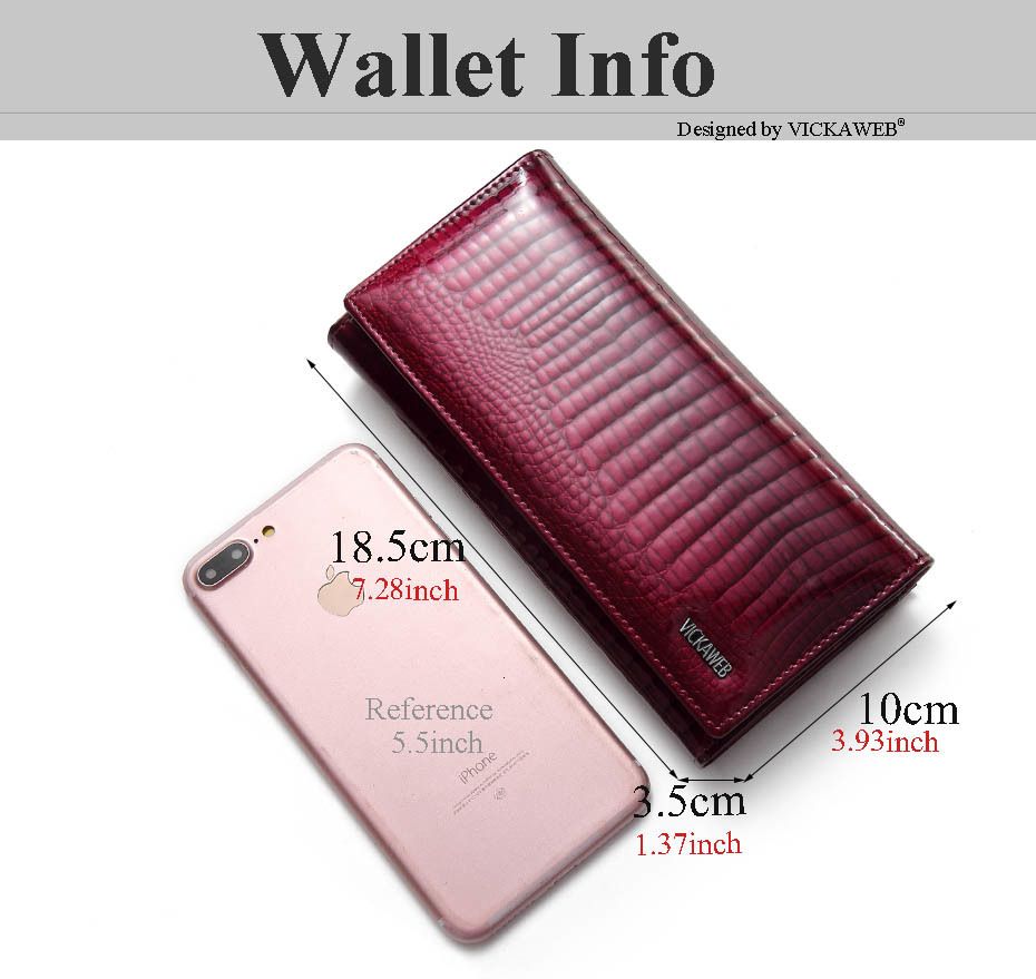 VICKAWEB Long Thin Wallet Female Fashion Alligator Purse Women Genuine Leather Standard Wallets Hasp womens wallets and purses-AE1518-002