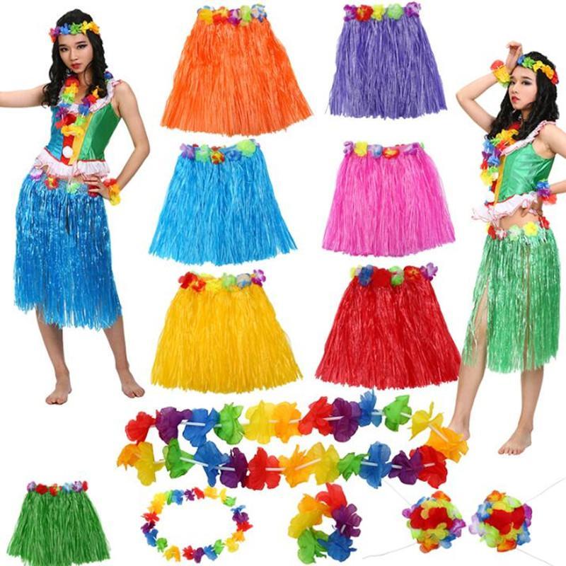 6Pcs Hawaiian Fancy Dress Costume Grass Skirt Bracelets Necklace Headband Bra