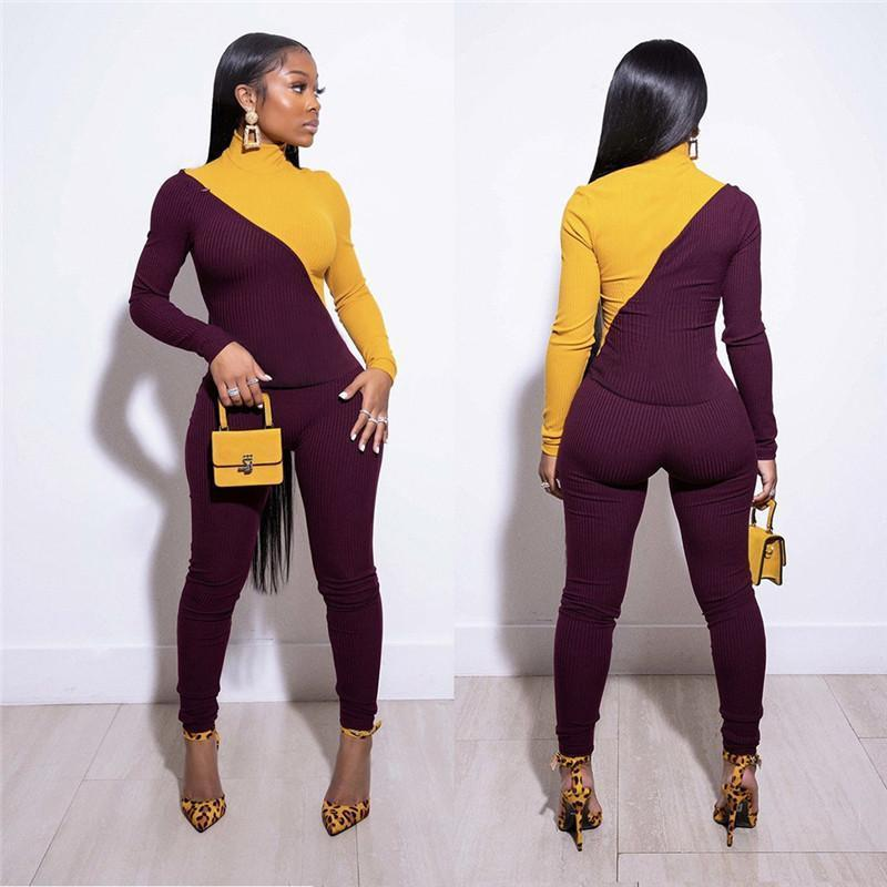 Women fall winter casual clothing sets jogger suit article pit sexy zipper long sleeve panelled hoodies pants pullover 3774
