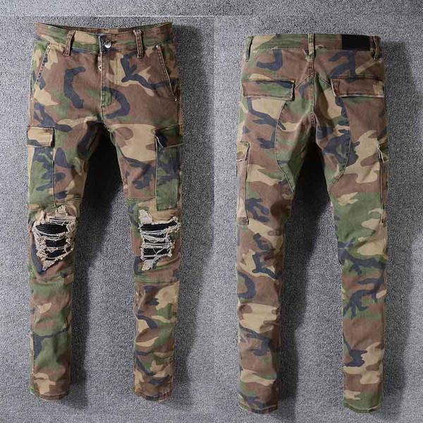 2021 Men Distressed Ripped Skinny Jeans Fashion Mens Jeans Slim Motorcycle Biker Causal Mens Denim Pants Good Quality men jeans