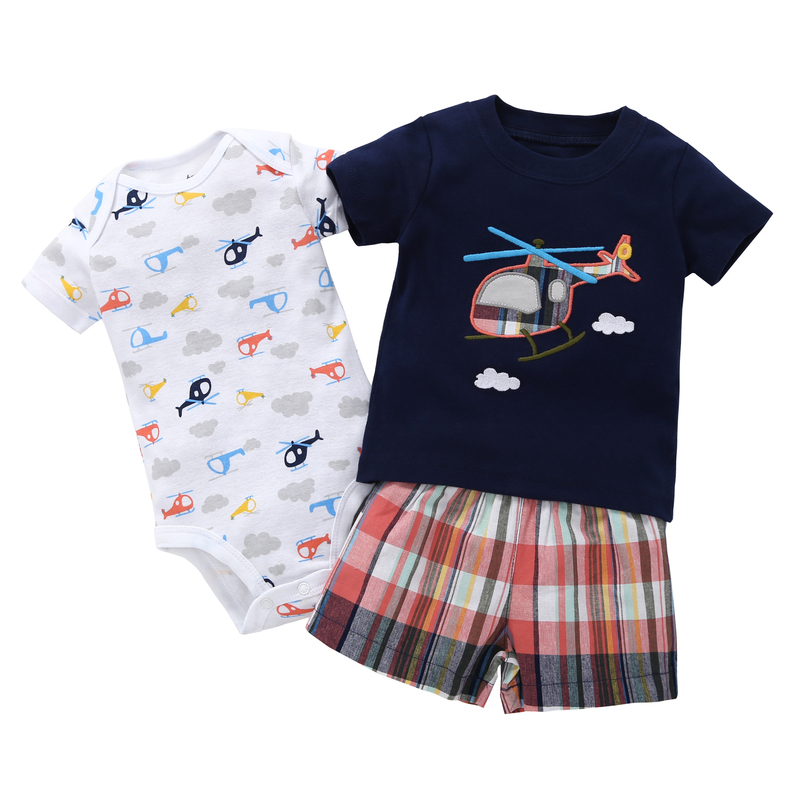 summer newborn clothes 3 piece outfits baby boy set cotton short sleeve T-shirt+bodysuit+shorts infant clothing for 6-24 month