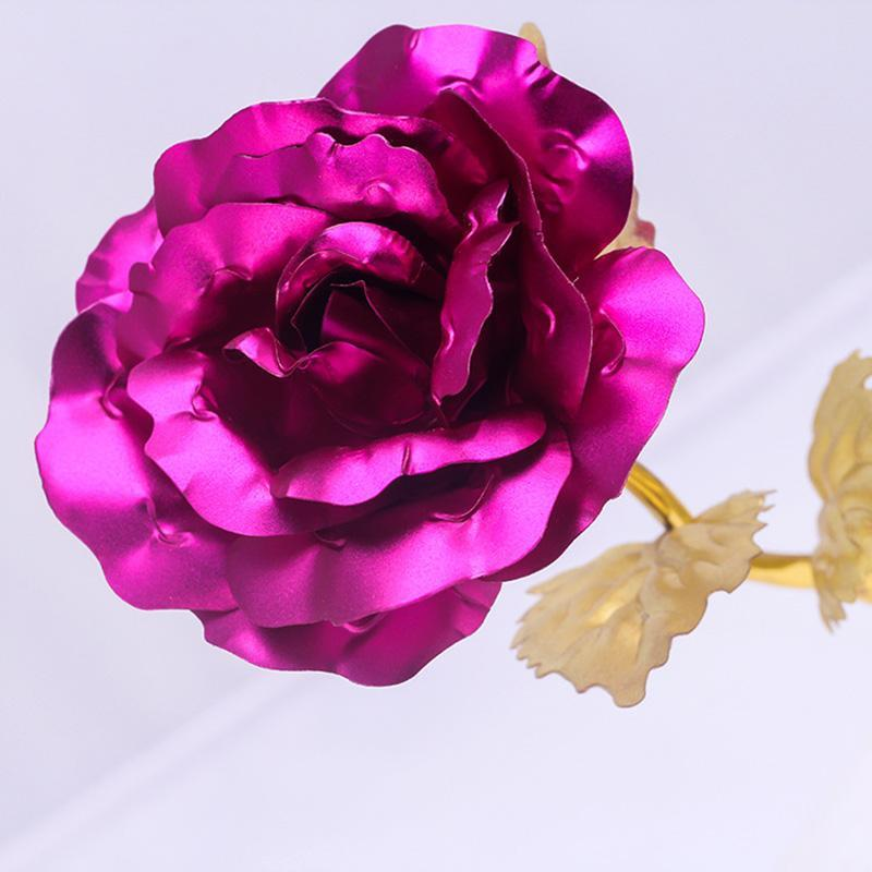 Fashion 24k Gold Foil Plated Rose Creative Gifts Lasts Forever Rose for Lover`s Wedding Valentine Day Gifts Home Decoration