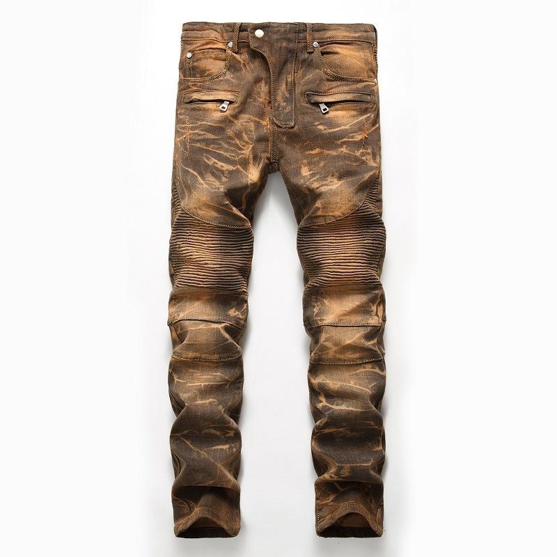 2020 Mens Skinny Jean Distressed Slim Elastic Jeans Denim Biker Jeans Hip hop Pants Washed Ripped Jeans Plus Size 28-42