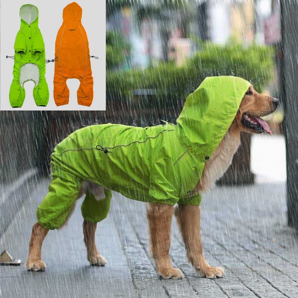 Reflective Pet Dog Raincoat Waterproof Dog Rain Jacket Coat With Hood For Medium Large Dogs Golden Retriever Labrador