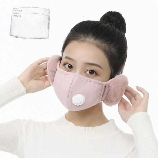 2 In 1 Face Mask Cover With Plush Ear Protective Mask PM2.5 Thick Warm Mouth Masks Winter Mouth-Muffle Earflap 6 Styles X647FZ