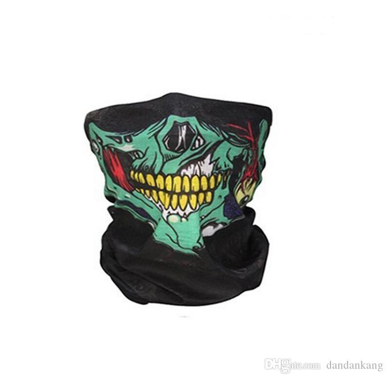 Skull Half Face Mask magic Scarf Bandana Bike Motorcycle Scarves Scarf Neck Face Masks Cycling Cosplay Ski Biker Headband Tactical masks