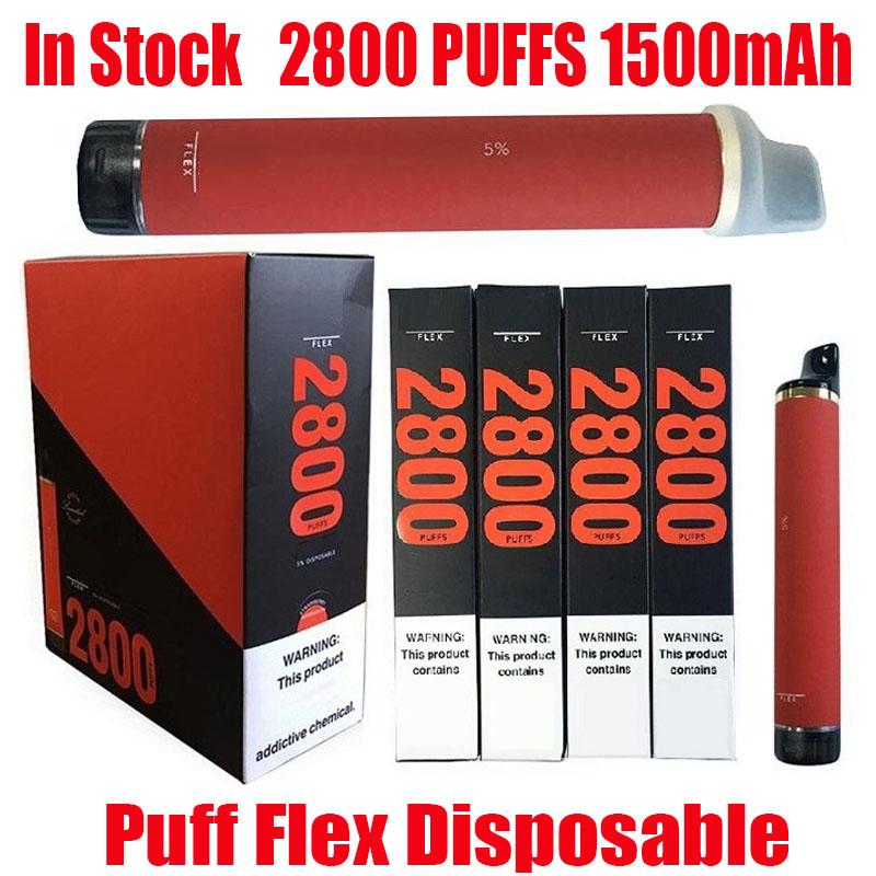 Puff Flex Disposable POD DEVICE Kit E-cigarettes 1500mAh Battery 10ml Pods Cartridge Vape 2800 Puffs Vapor Pen For Bang Bar Plus XXL Max Kit