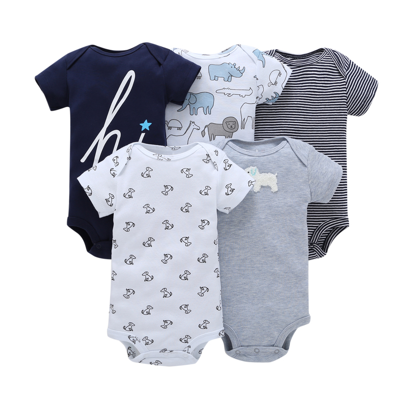 5pcs newborn infant letter print cotton short sleeves rompers 0-24 baby boy clothes summer baby girls outfits