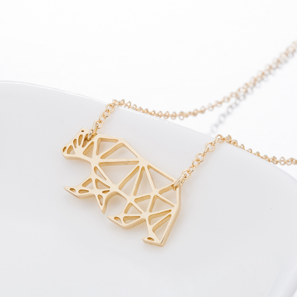 Wholesale Mothers Day Gifts Jewelry Origami Minimalist Mama Bear Necklace