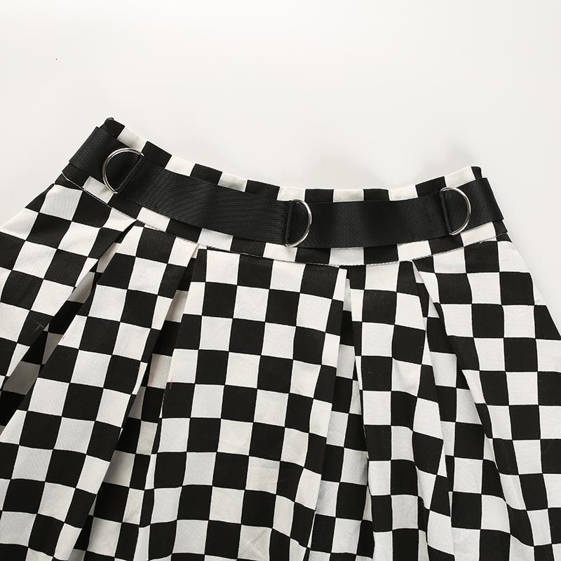 10Sweetown Korean Fashion Checkerboard Pleated Skirts Womens Sashes High Waist Zipper Cotton Short Skirt Woman Summer Skirts