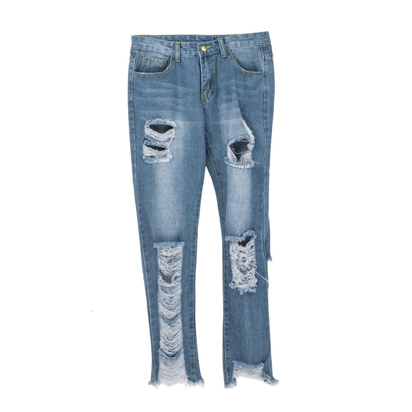 Hole Jeans Woman Plus Size New Sexy Pencil Pants Denim Skinny Stretch Soft Tights Jeans Trousers Dropshipping #FS05 (1)