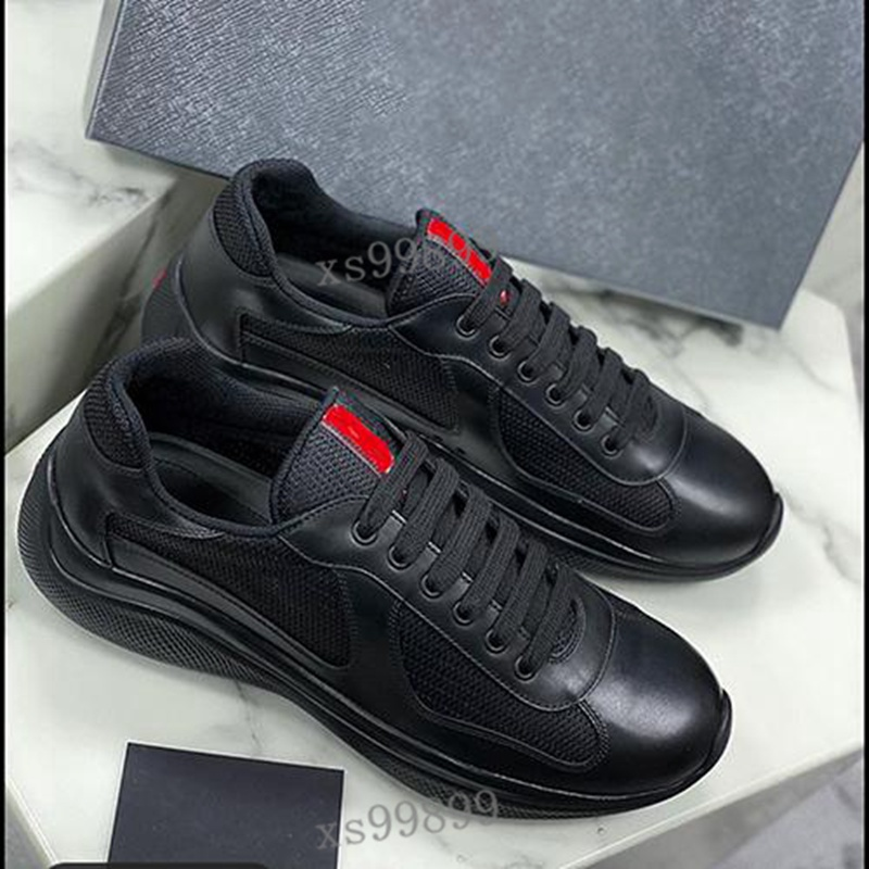 Men's America'S Cup leather high-quality patent leather flat sneakers black mesh lace-up casual shoes outdoor running sneakers