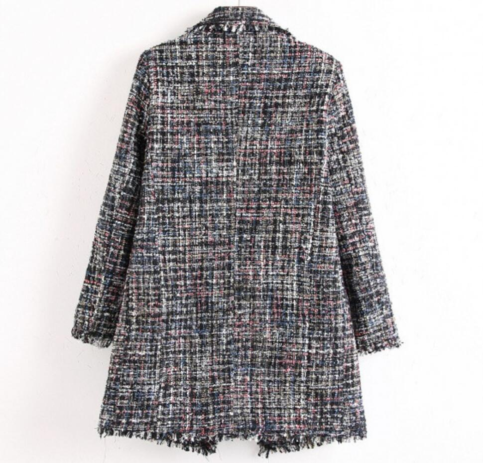 European and American style in autumn and winter long tweed small fragrance wind pearl buckle fringed ladies plaid plaid women's coat