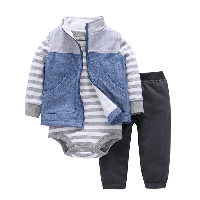 baby boy girl clothes newborn infant clothing set jacket+stripe bodysuit+pant new born outfit babies suit costume cotton 2020