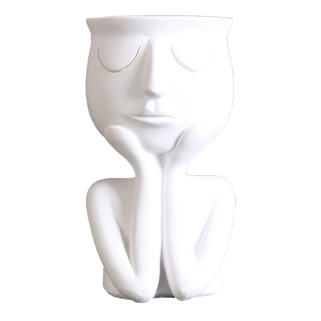 Human Portrait Sculpture Flower Pot Vase Succulent Cactus Planter Head Planter Face Pot Planters for Plants Unique