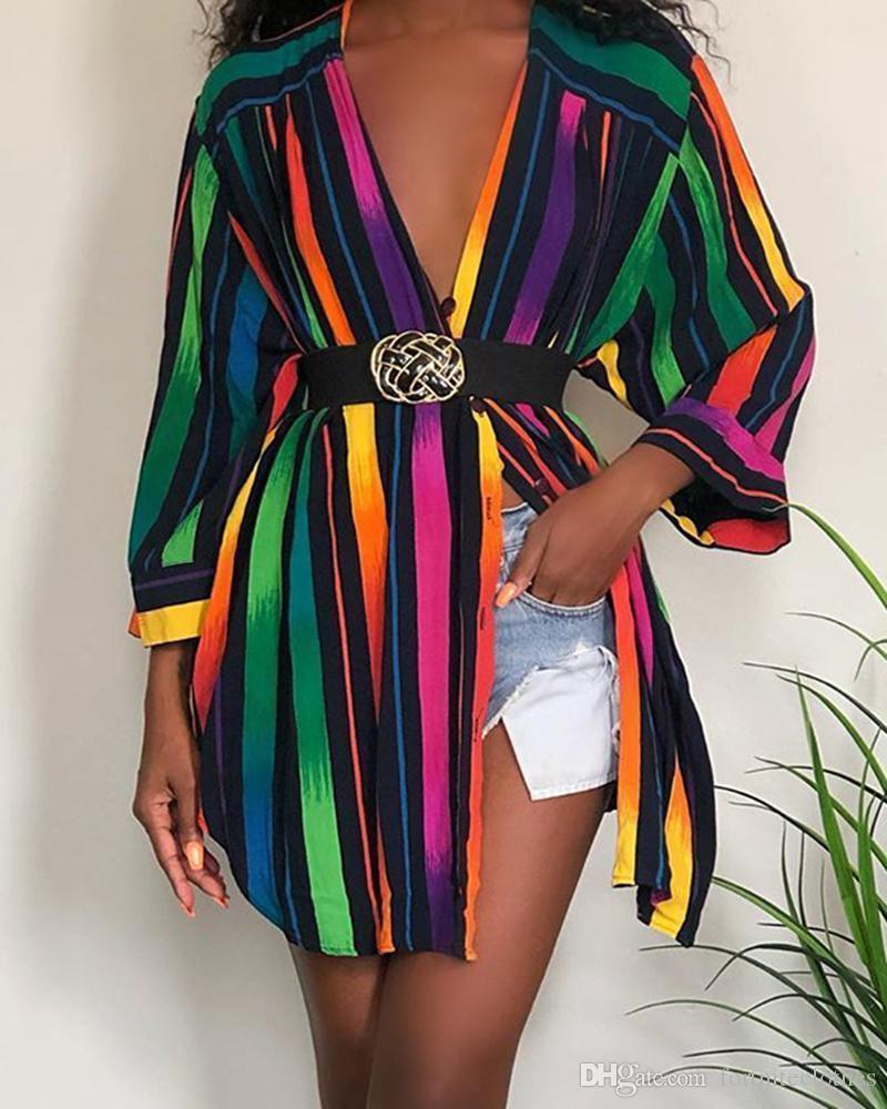 Womens Designer Shirt Dresses Fashion Rainbow Colors Striped Printed Summer Dress Long Sleeve Plus Size Women Clothing