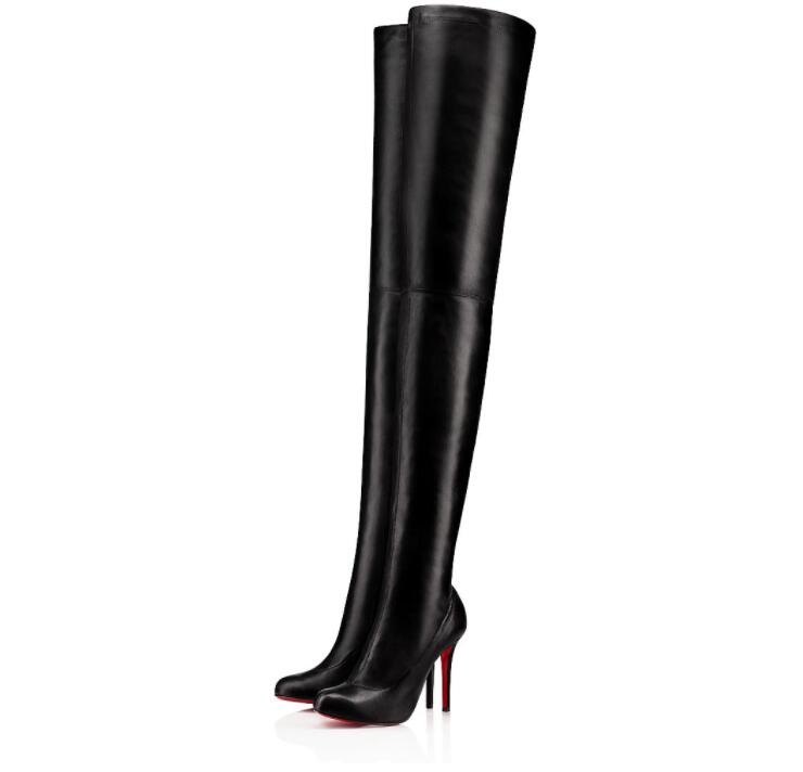 Elegant Winter Brands Women's Thigh-High Boots Louise-Xi Red Bottom Shoes High Heels Lady Booties Famous Red Sole Over Knee Boots Party Wed