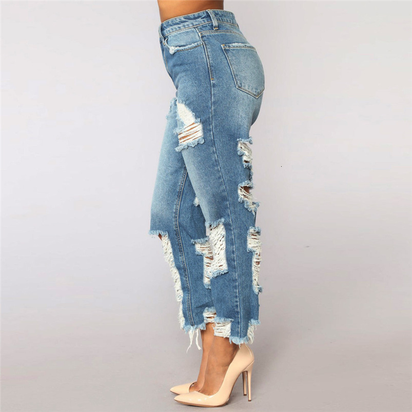 Hole Jeans Woman Plus Size New Sexy Pencil Pants Denim Skinny Stretch Soft Tights Jeans Trousers Dropshipping #FS05 (6)
