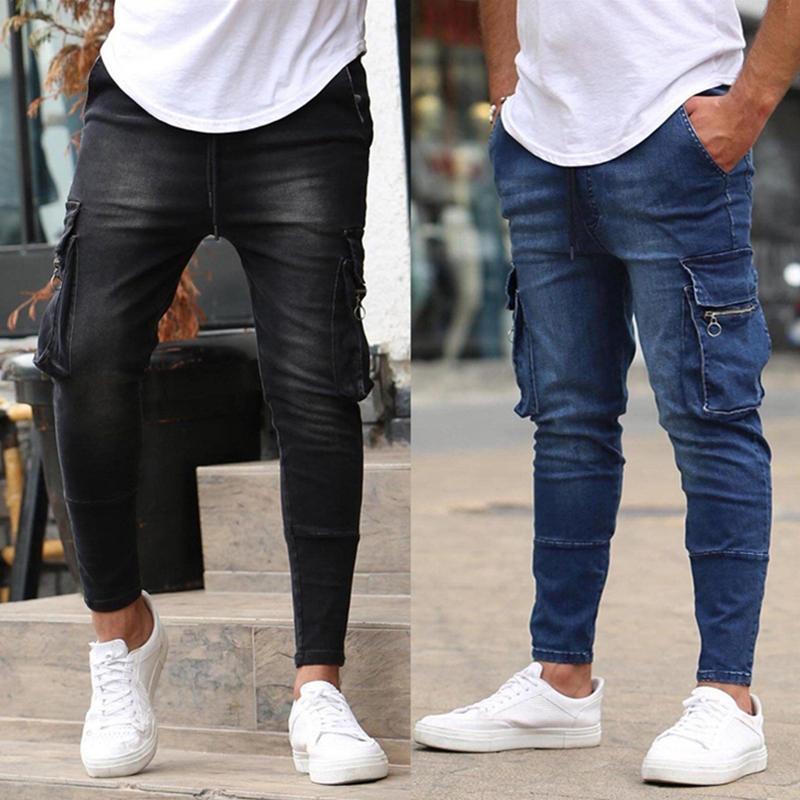 Black Joggers Pencil Pants Men Gym Fitness Jeans Male Multi-pocket Casual Skinny Pants Pocket Zipper Slim FIt Work