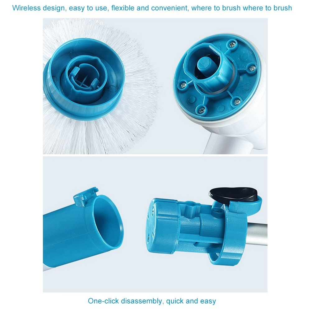 Cordless Hurricane Muscle Scrubber Electric Cleaning Brush with Brush Heads Bathroom Surface Bathtub Shower Tile Brush