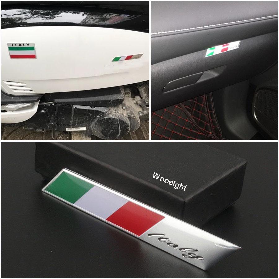 1Pc 3D Aluminum Italy Emblem Badge Flag Car Stickers Fender Trunk Decoration For Audi BMW VW Alfa Romeo FIAT Honda Benz (7)