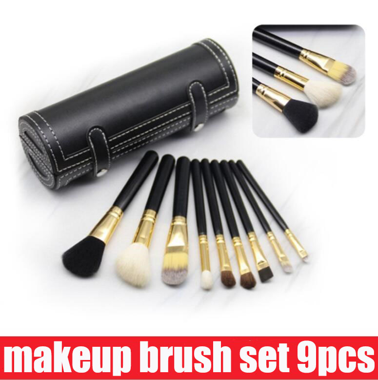 DHgate coupon: Hot M 9 Pcs Makeup Brushes Set Kit Travel Beauty Professional Wood Handle Foundation Lips Cosmetics Makeup Brush with Holder Cup Case
