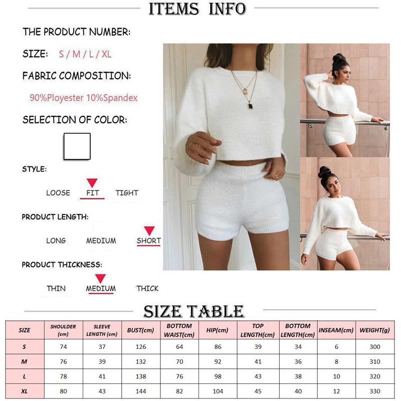 Women-Soft-Fluffy-2-Piece-Set-O-Neck-Long-Sleeve-Crop-Top-High-Waist-Skinny-Shorts (2)
