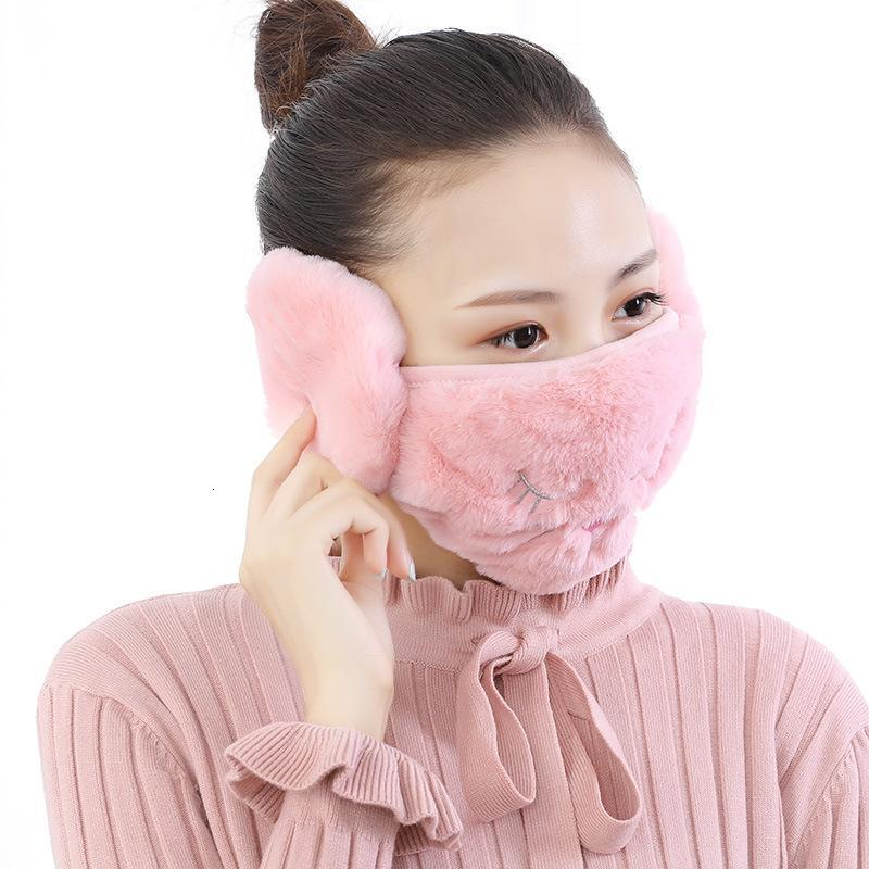 2 in 1 Face Masks Ear Warmer Winter Christmas Mask Dustproof Cold Warm Earmuff Mask for women protective masks fy9228