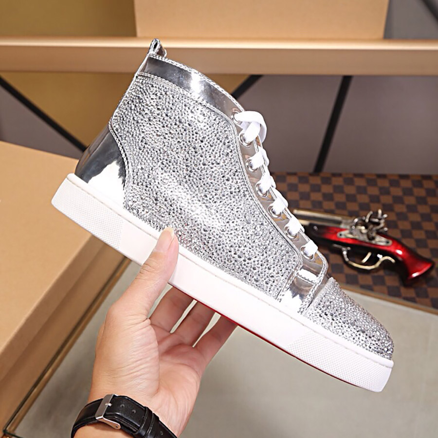 Mens Women Platform Shoes Silver Sparkling Diamond Spikes High Top Mid Black Red White Designer Sneakers Genuine Leather Casual Shoes