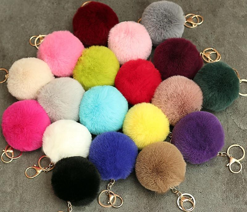 Rabbit Fur Ball Plush Fuzzy Fur Key Chain POM POM Keychain Car Bag Keychain Key Ring Pendant Jewelry Party Gift 20pcs