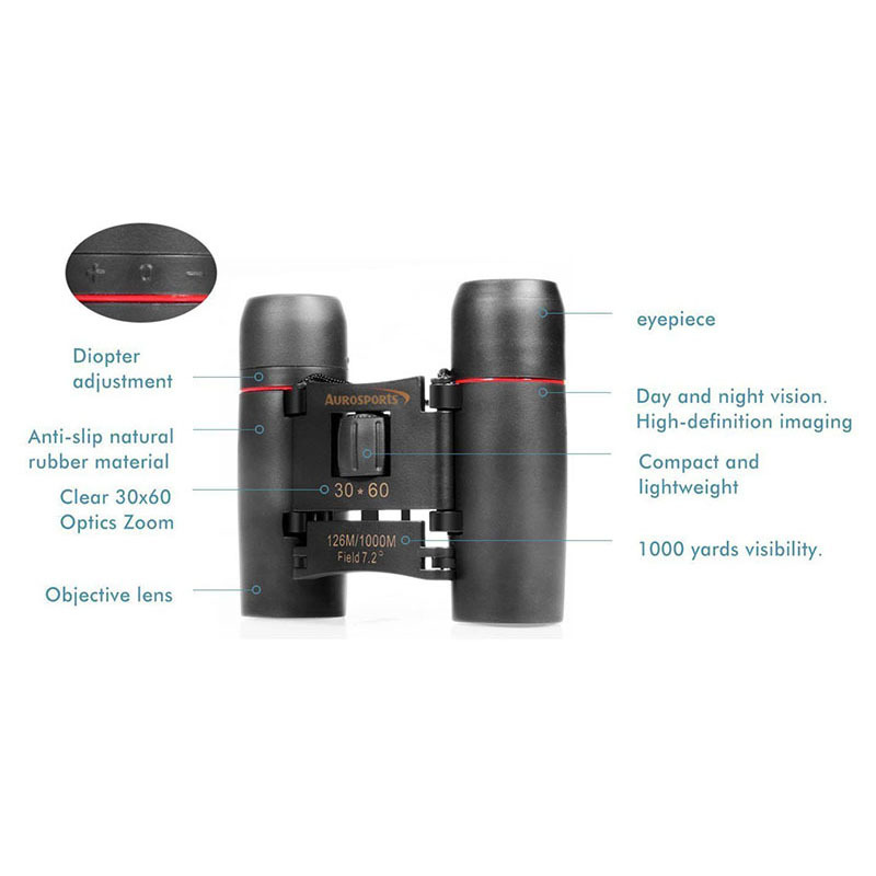 30x60 Folding Binoculars Telescope Low Light Night Vision Outdoor Camping Birding Travelling Sightseeing Hunting Adults Kids (16)