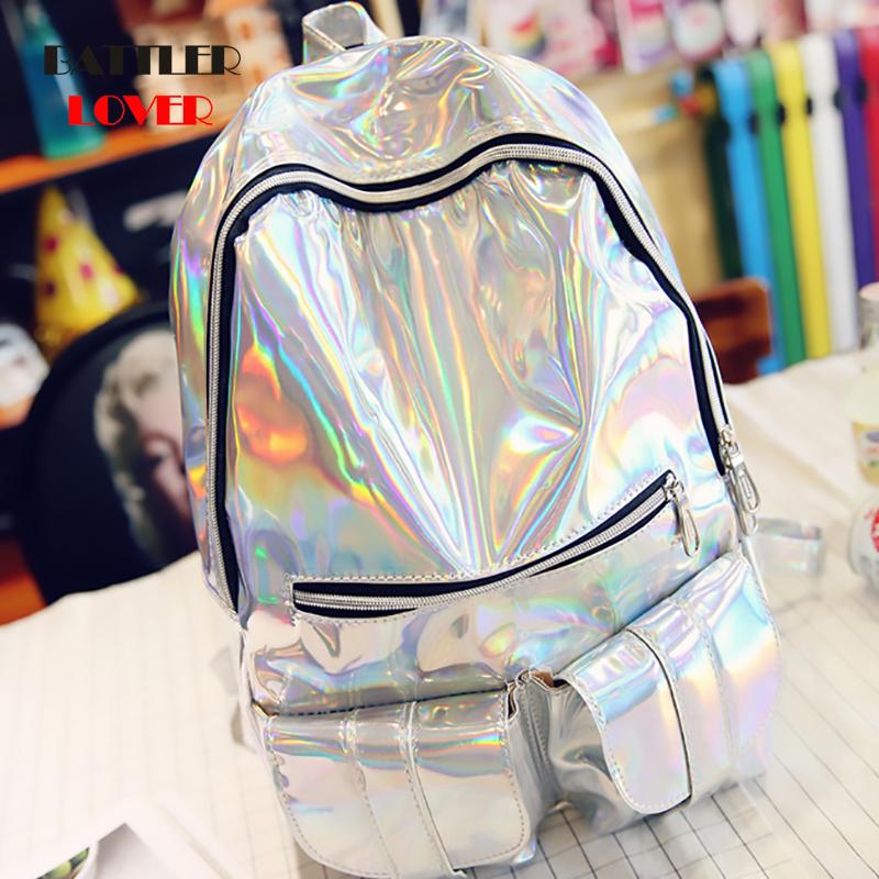 2019 Backpack New Women Backpack Big Travel Bags Silver Laser Backpack Women Girls Shoulder Bag PU Leather Holographic Backpack