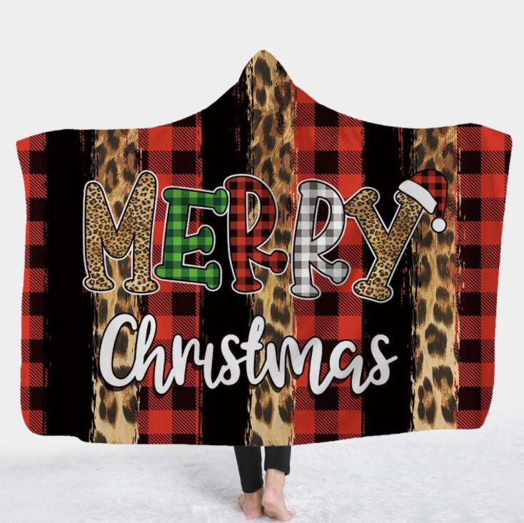 Kids Hooded Blankets 3D Leapard Printed Cape Santa Clause Xams Blanket Washable Warm Bed Velet Fleece Throw Blanket Sea Shipping YL1266