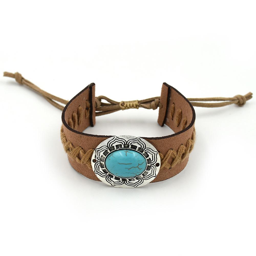 New Handmade natural stone leather Bracelet Bohemia boho chic Vintage Ethnic Bracelets