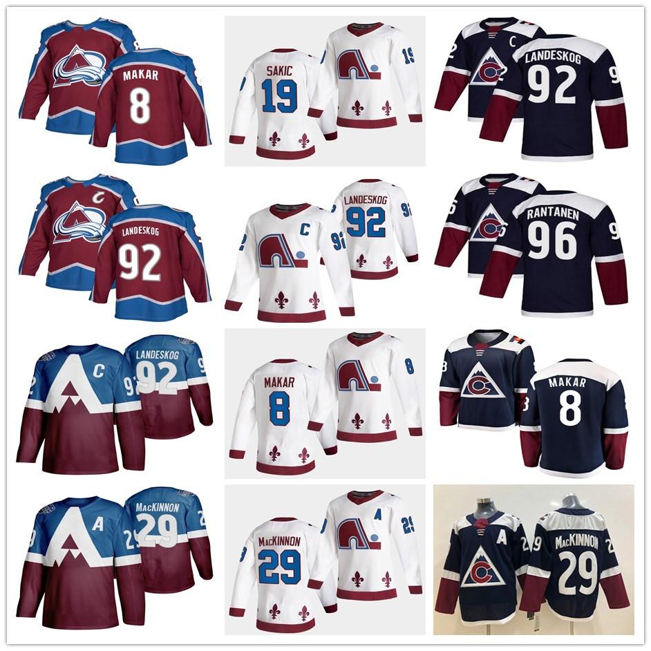2021 Reverse Colorado Avalanche Nathan MacKinnon Cale Makar Gabriel Landeskog Joe Sakic Mikko Rantanen Home Away White Maroon Hockey Jerseys
