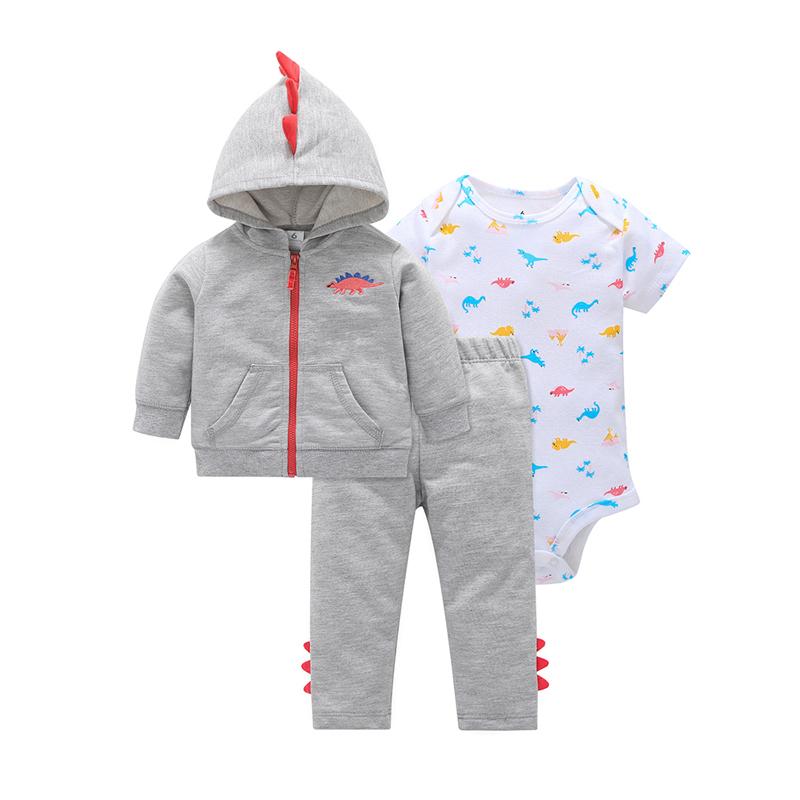 autumn baby boy clothes long sleeve cartoon Unicorn hooeies coat+romper+pants 3PCS outwear clothing set baby girl outfits