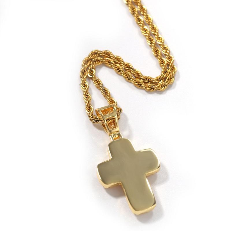 Mens Hip Hop Cross Necklace CZ Stone Bling Iced Out Pendant Necklace Jewelry Gold Slver Chains Diamond Pece Statement Necklaces Women Men