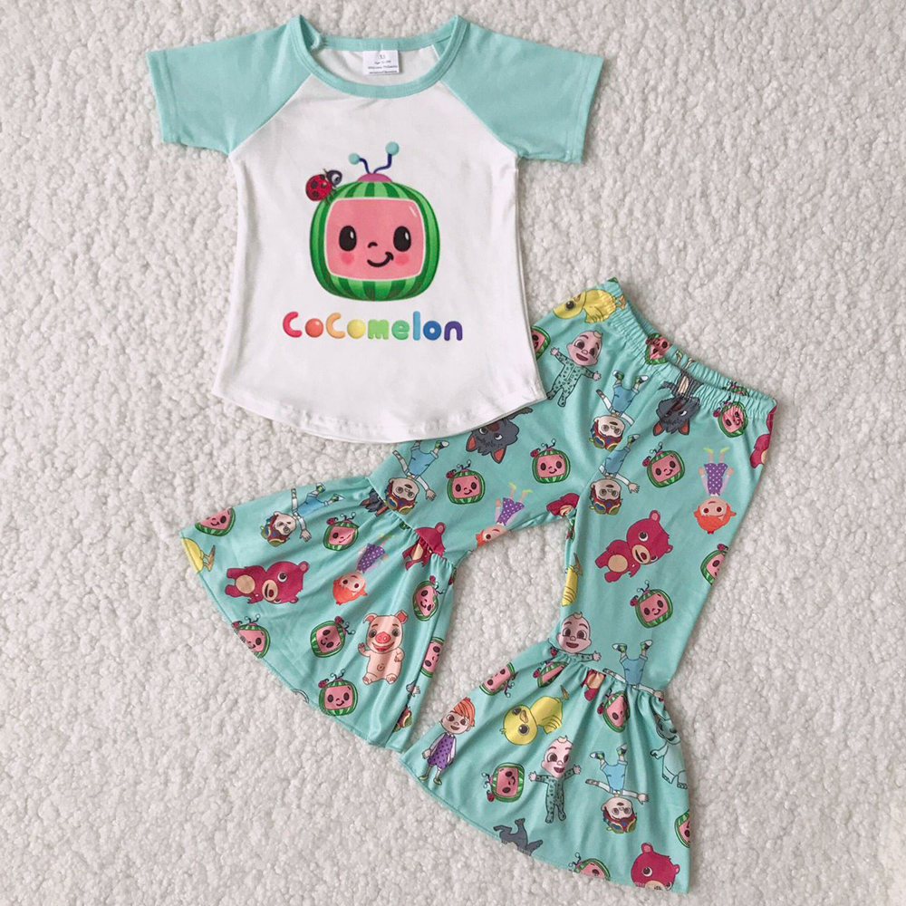 2021 Hot Sale Kids Designer Clothes Girls Boutique Outfits Fashion Toddler Baby Girls Bell Bottom Outfits Wholesale Children Clothing RTS