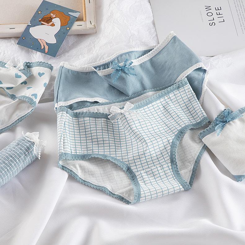 High Quality Plaid Lingerie Girl Love Panties Soft Cotton Underwear Blue Briefs Girls Pants Sexy Lingerie1234