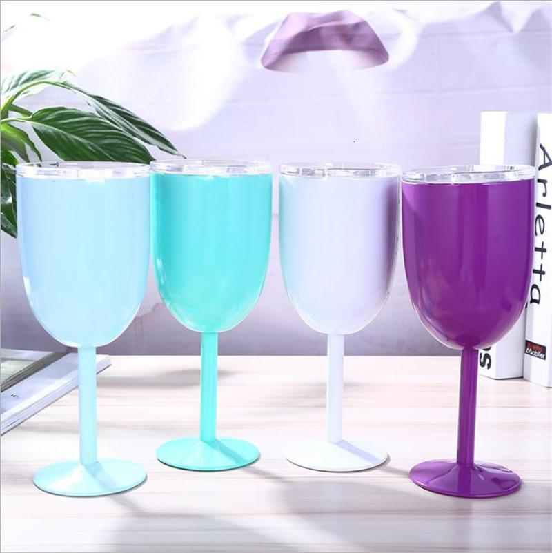 10oz Stainless Steel Wine Cup With Seal Lids Insulated Champagne Juice Goblets Double Wall Cocktail Glass Home Party Drinkingware