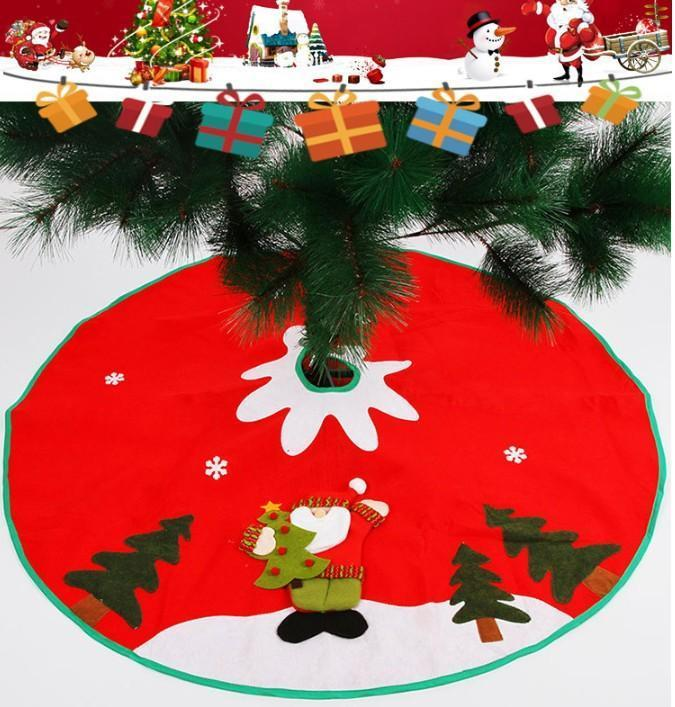 90cm Christmas Tree Santa Claus Snowflake Skirt Small Red Nov-woven Tree Skirt New Year 2020 Christmas Decoration for Home