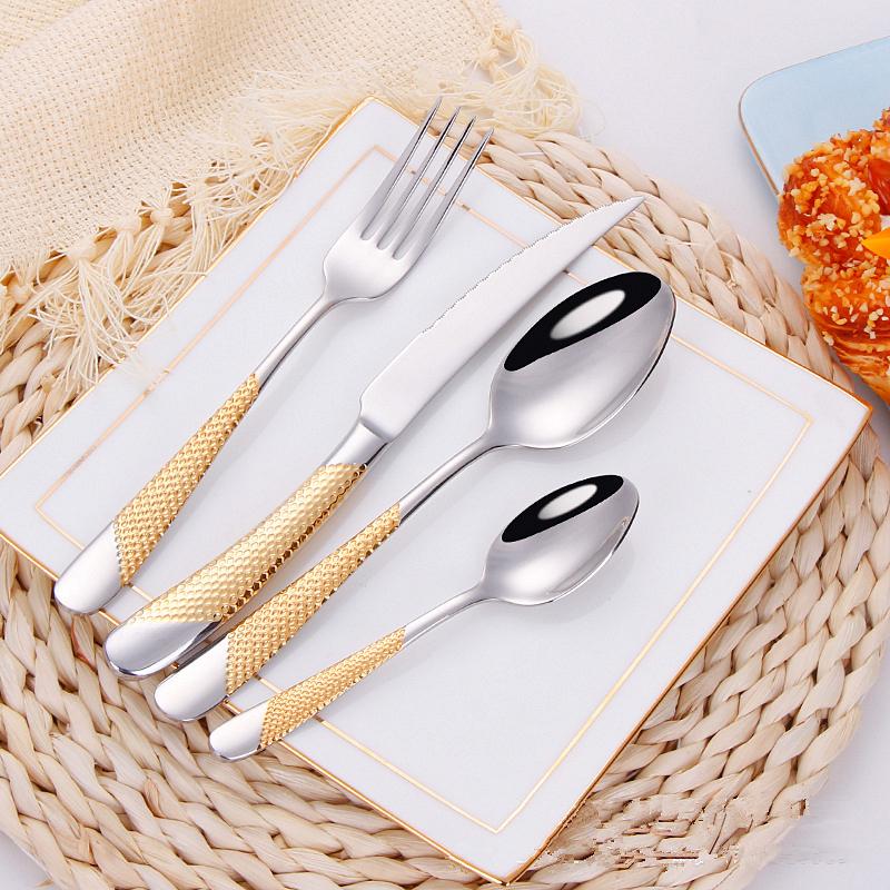 4Pcsset Cutlery Set 304 Stainless Steel Tableware Knife Fork Spoon Dinner Set Kitchen Dinnerware High Quality (2)