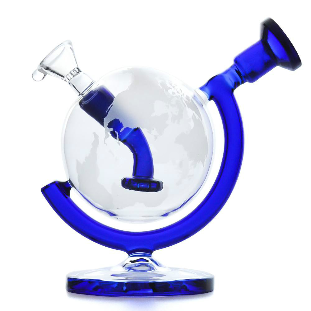 Glass Bong Dab Rig Water Pipes 5.7inches Globe Recycler bubbler with glass bowl oil rig glass pipe smoke accessory