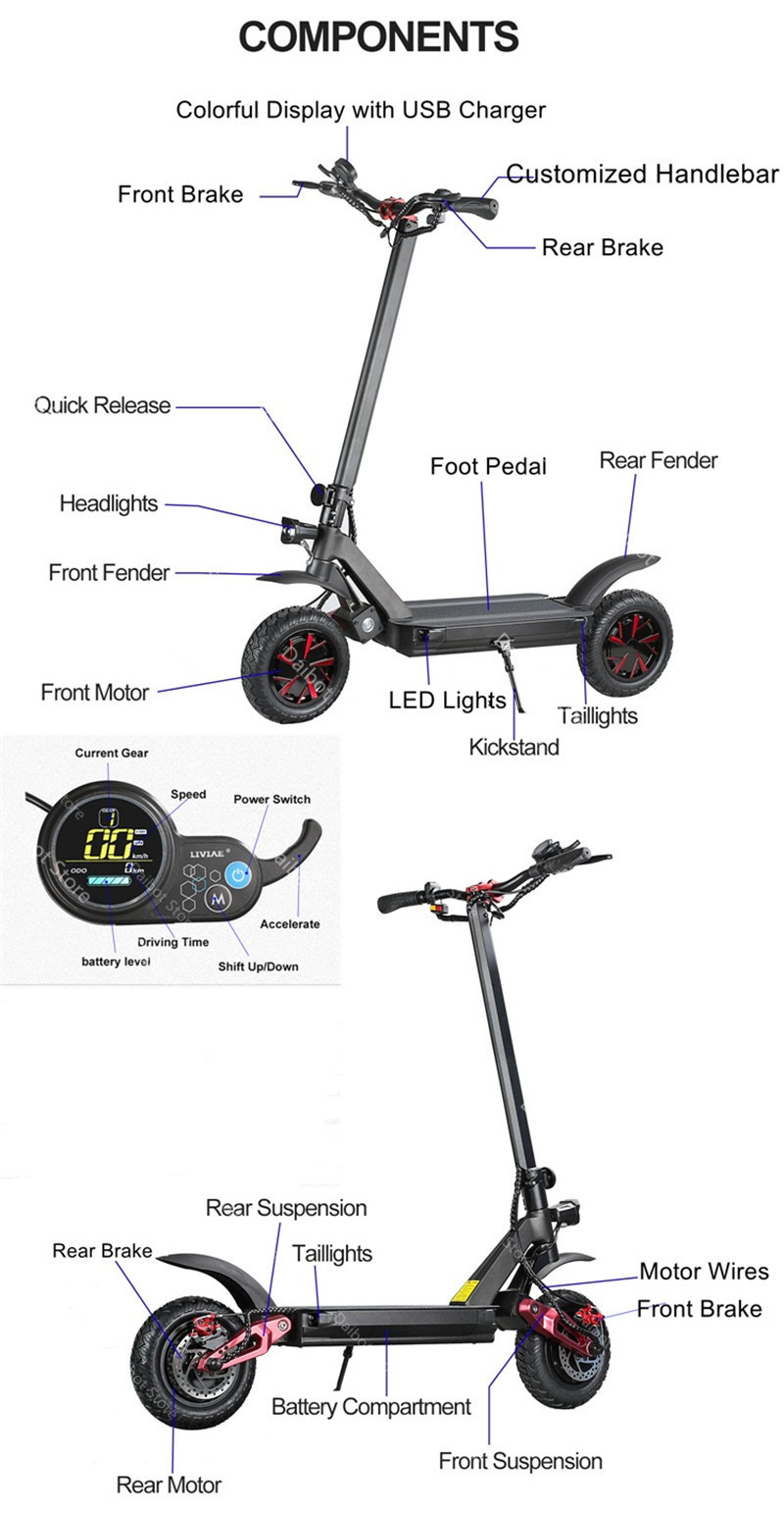Folding Electric Scooter Adults 2 Wheels Electric Scooters Ecorider E4-9 With Crystal Light 3600W 70KMH Powerful Electric Bike (36)