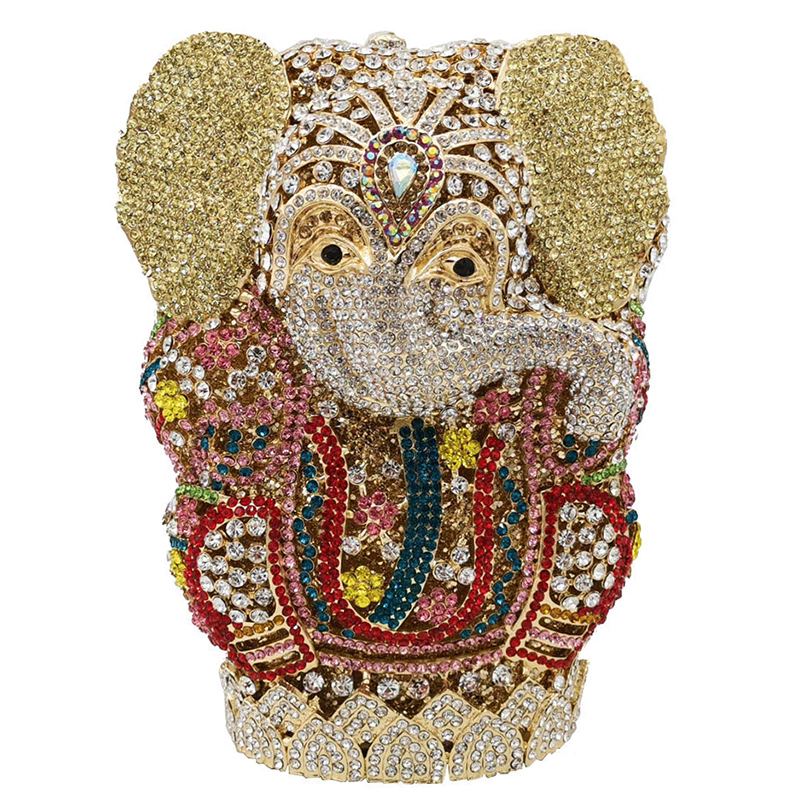 Luxury Handmade Bags Thai Buddhism Elephant Crystal Women Evening Clutch Bags Wedding Formal Dinner Minaudiere Handbags Purses