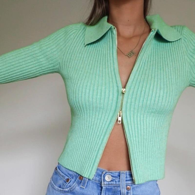 Women Sweater Knitted Cardigans Slim Fit Crop Tops Knitwear Zipper Design Long Sleeve Sweater INS Hot Selling Women Tops