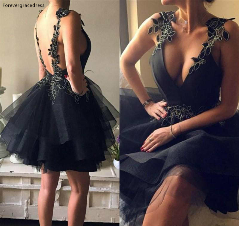 Little Black Tulle Skirts Knee Length Homecoming Dresses Sexy Backless V Neck A Line Cocktail Party Gowns Appliqued 98 (2)